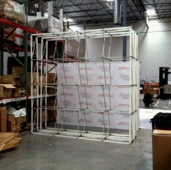 Straight pop up display hardware frame