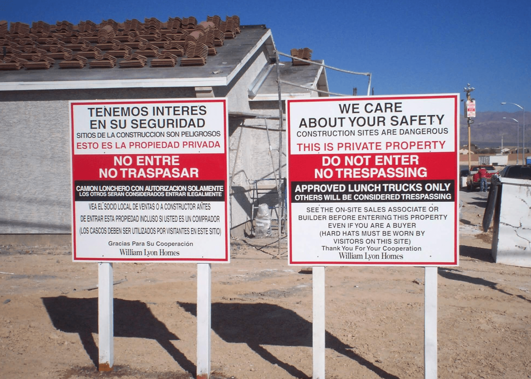 Wooden Construction Permit Signs
