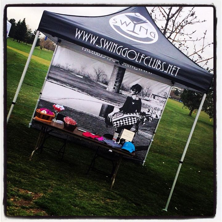 Custom printed canopy tent with back wall