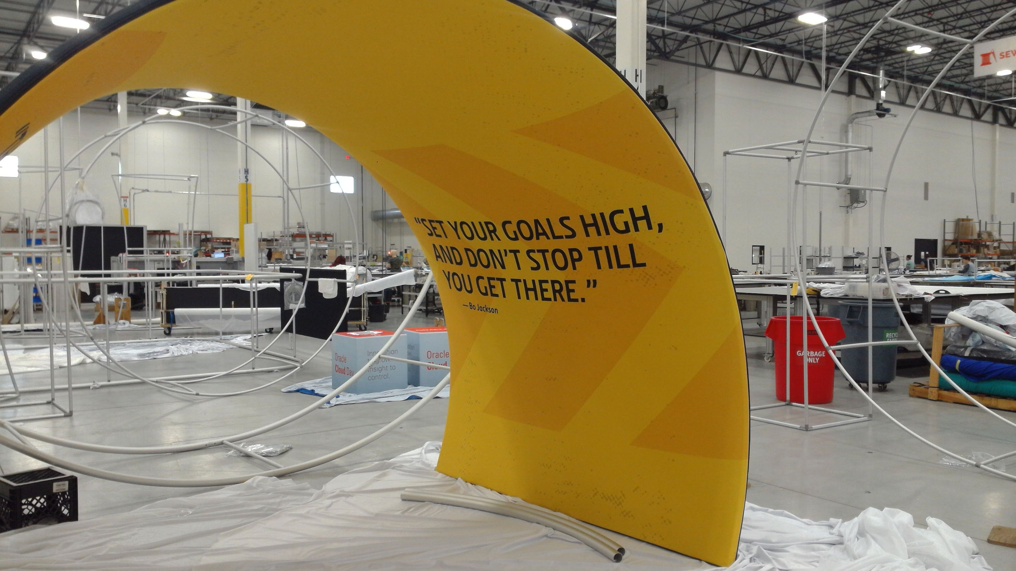 Tension Fabric Display in Yellow