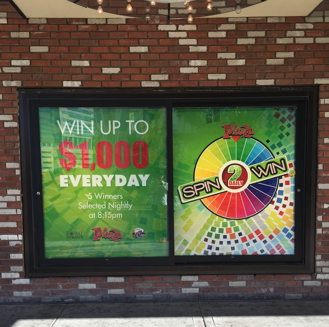 Window Graphics Slot Play display by Big Printing Las Vegas